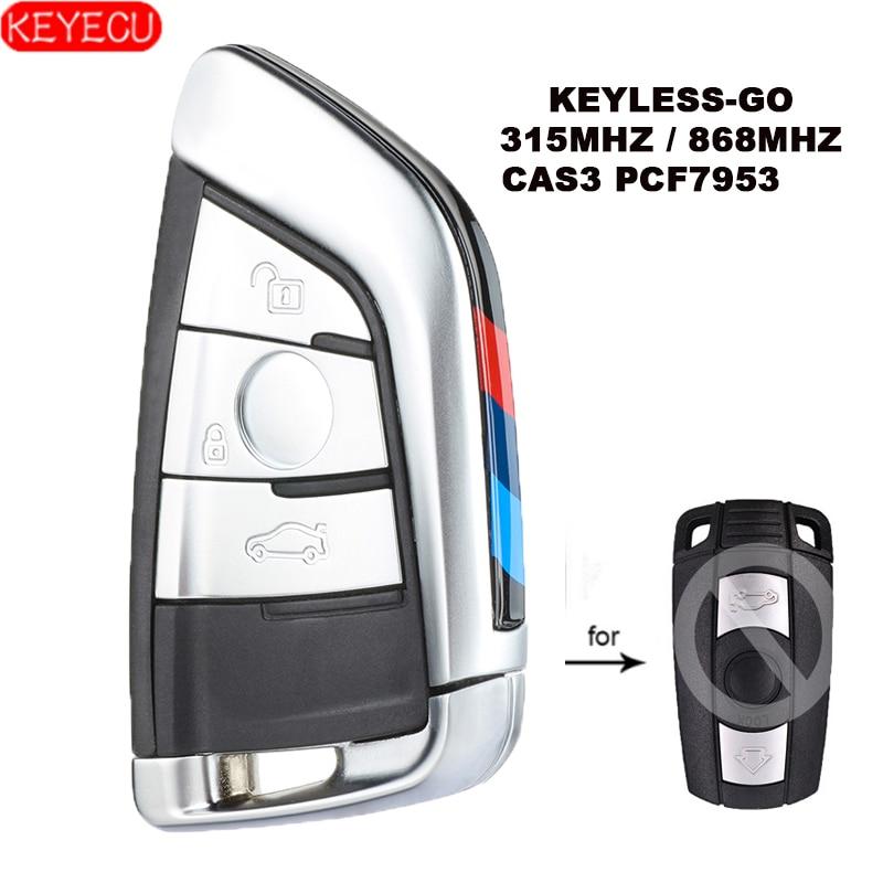 KEYECU БЕСКЛЮЧЕВОЙ-Go изменить умный дистанционный ключ 3 кнопки 315 МГц/868 МГц PCF7953 для BMW CAS3 3/5 серии X5