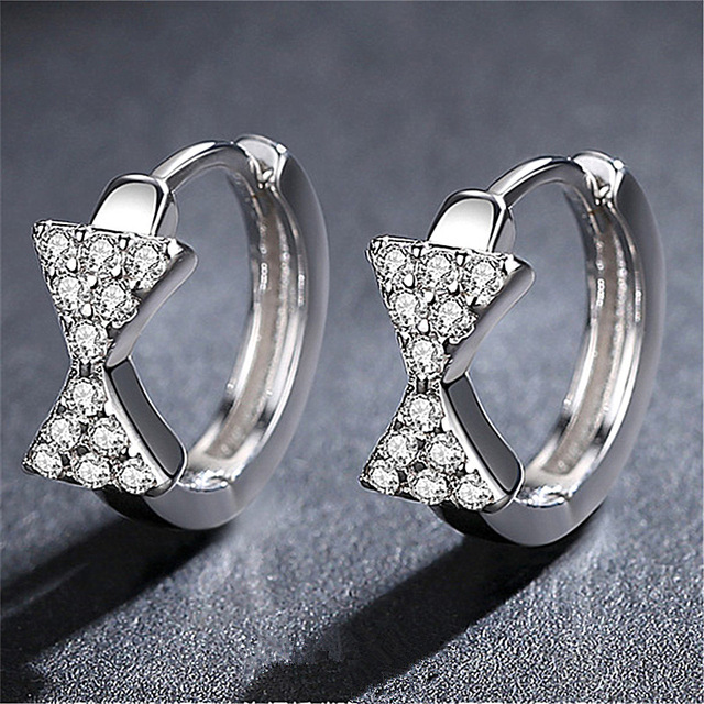 XIYANIKE 925 Sterling Silver Full Rhinestone Bowknot Earrings Female Temperament Symmetrical Triangular Zircon Fashion Jewelry