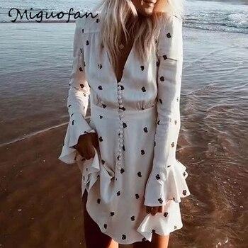 Bohomia Vestido de verano Blanco moda estilo Deep V cuello playa vestidos...