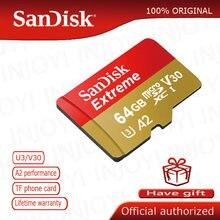 Cartão de memória sandisk, extreme plus, micro sd, a2, u3, v30, 64gb, 128gb, 256gb, 160 mb/s, class10, tf cartão flash carte micro sd