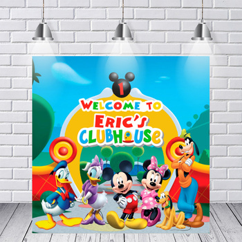 Photography Backdrops Welcome Mickey Minnie Mouse Clubhouse Party Personalized DIY Custom Photo Studio Background Backdrop Vinyl las vegas casino city skyline night backdrop vinyl cloth high quality computer printed party photo studio background