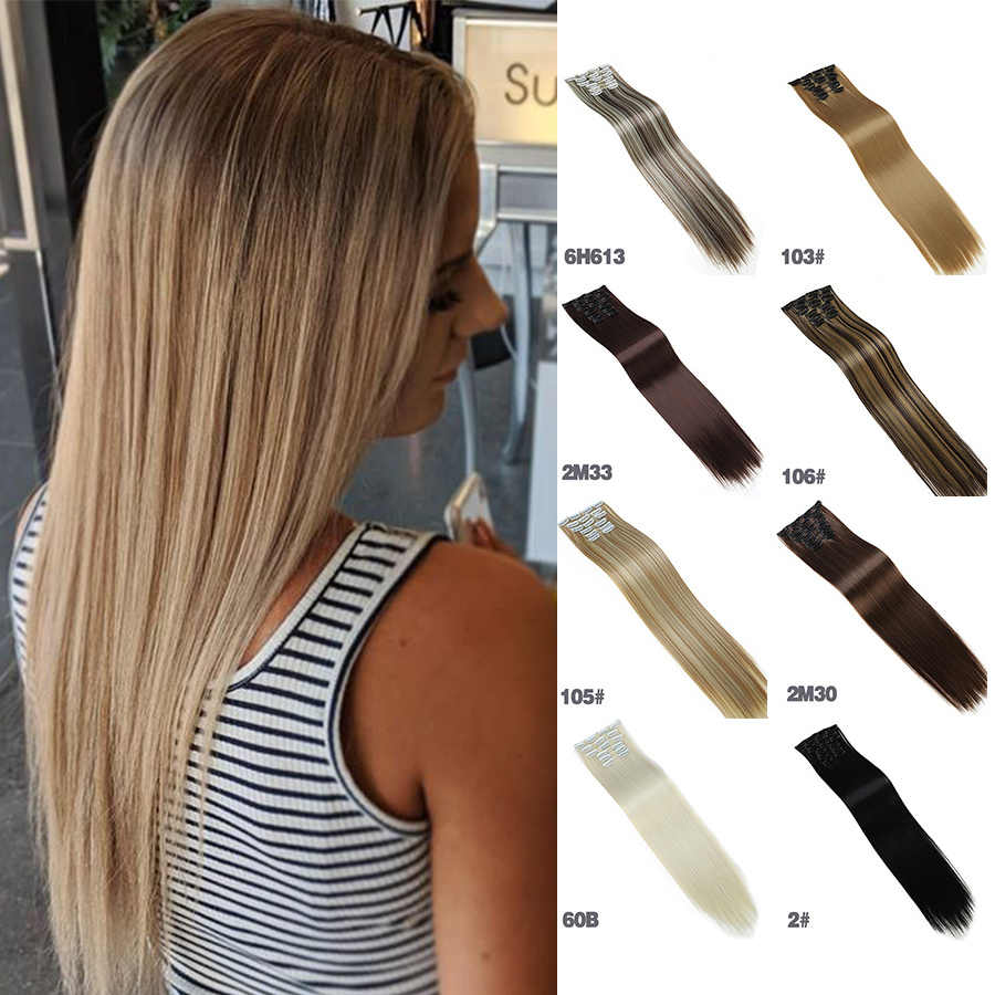 "Allaosify 6 stks/set 24 ""Haarstukken Straight 16 Clips In Valse Styling Haar Synthetische Clip In Hair Extensions Hittebestendige Fiber"