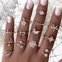 Bagues Boho Vintage pour femmes, ensemble de bijoux, étoile en or, cristal, croissant, géométrique, livraison rapide