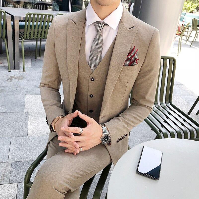 Высококачественный Костюм Джентльмена классический мужской тонкий синий клетчатый Повседневный Свадебный костюм удобный деловой повседн... - 4