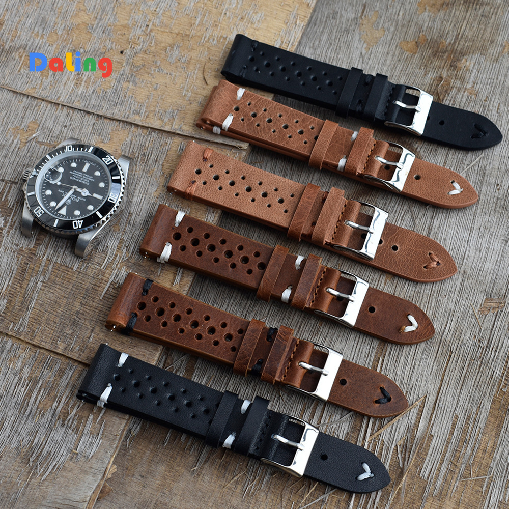 High Quality Cow Leather Retro Watch Straps Blue Watchbands Replacement Strap For Watch Accessories 18mm 20mm 22mm 24mm Cowhide