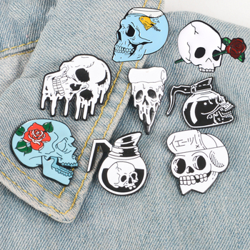 Skull Pins Rose Flowers Japanese warrior Skull enamel pins badges Coffee Flower Pizza Skeleton Brooches Lapel pins Punk Jewelry image