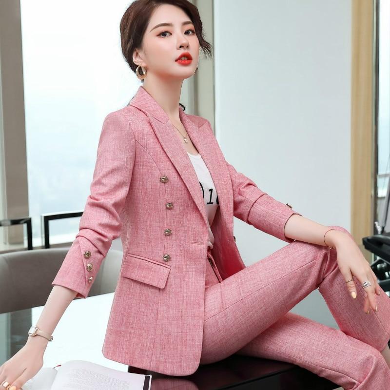 Plus size women's S-4XL suit pants Two-piece High quality ladies metal buckle jacket professional work clothes Slim trousers