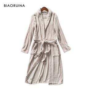 Image 3 - BIAORUINA Women All match Red Coral Fleece Solid Robes Female Casual Warm Sleeping Robes Womens Thick Everyday Robes