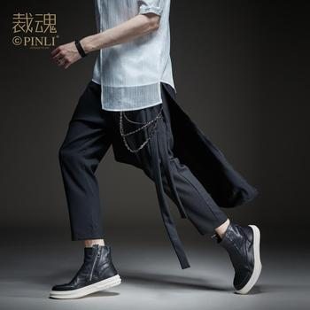 Free Shipping New male men's man spring casual Soul cutting 2019 autumn dark harem pants casual cropped pants BC192917013