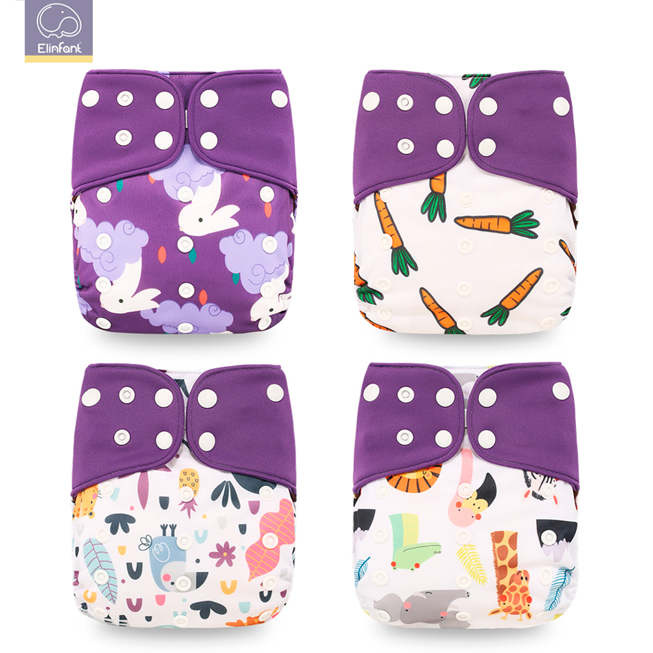 Elinfant Washable Coffee Diaper-Cover Nappy Cloth New 4pcs/Set