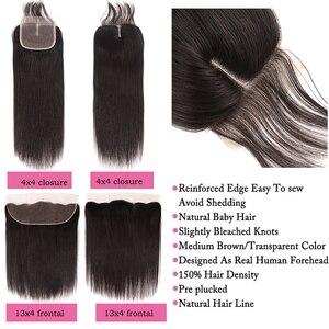Image 5 - Peruwiańskie proste włosy 3 zestawy z 4*4/13*4 zamknięcie Frontal z wiązkami 100% Remy ludzkie włosy splot wiązki dla czarnych kobiet