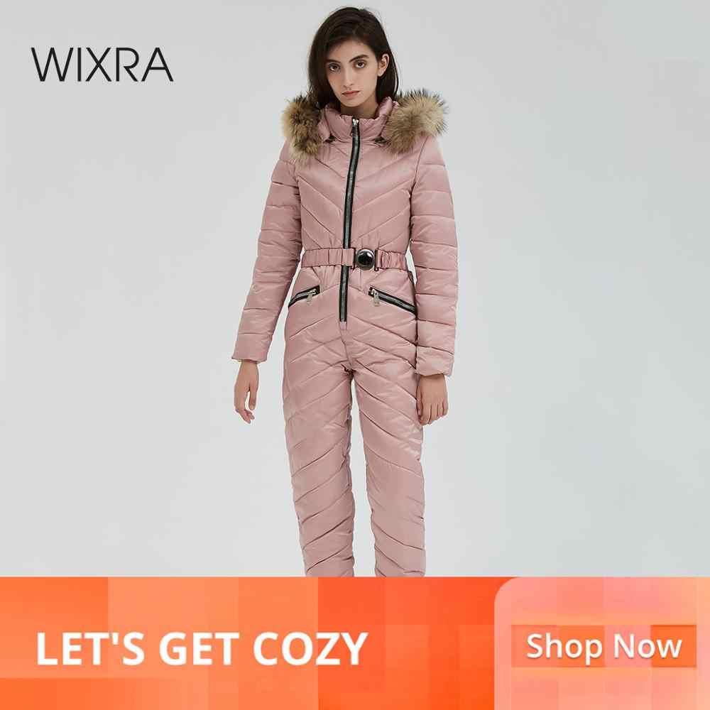 Wixra One Piece Ski Jumpsuit Bernapas Snowboard Jaket Ski Celana Set Baju Outdoor Salju Cocok untuk Wanita Pakaian Musim Dingin