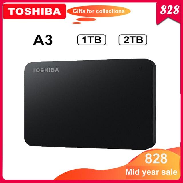"""東芝 Canvio 基本 HDD 2.5 """"A3 USB 3.0 外部ハードドライブ 2 テラバイト 1 テラバイトポータブルハードディスク externo ディスコ duro externo ハードドライブ"""