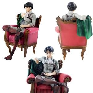 13cm Attack on Titan Levi Ackerman Figure Anime Solider Levi Sleeping Chair Ver. PVC Action Figure Toy