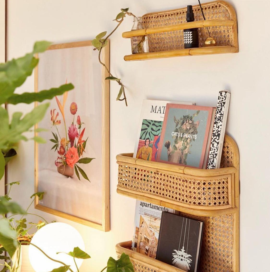 Настенная бамбуковая полка для хранения, ручная вязка, настенная вешалка, органайзер L46 X W13 см|Хранилище для дома и офиса|   | АлиЭкспресс - Красивые полки для дома