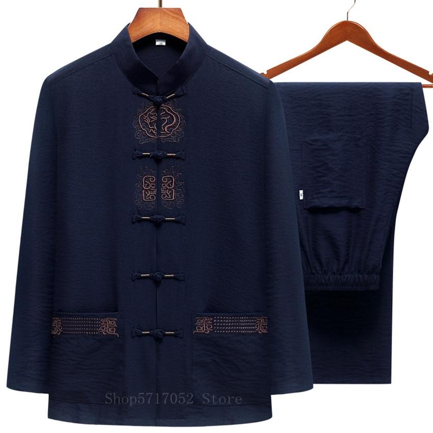 Мужская хлопковая льняная одежда Wu Shu традиционная китайская Ретро рубашка Hanfu с вышивкой и длинными рукавами длинные брюки костюм кунг фу тайчи|Наборы| | АлиЭкспресс