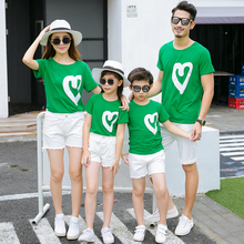 Pure cotton suit summer dress 2019 family matching clothes t shirt mother mom and son brother sister dad little