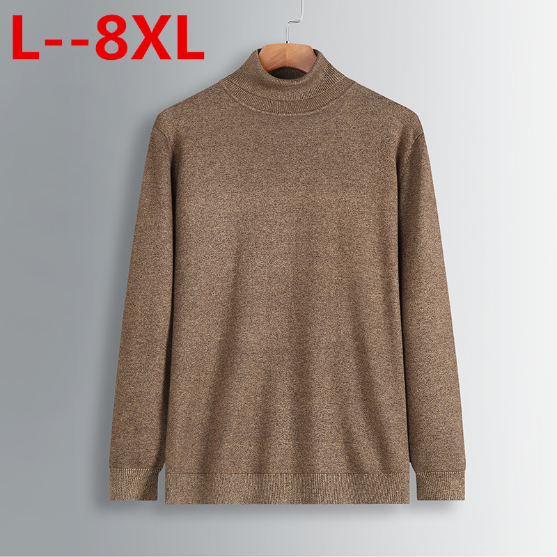 8XL 6XL  New Autumn Winter Men'S Sweater Men's Turtleneck Solid Color Casual Sweater Men's Slim Fit Brand Knitted Pullovers
