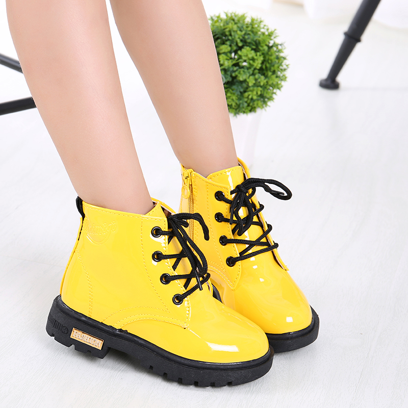 kids Leather Boots Boys Shoes Spring Autumn PU Leather Children Boots Fashion Toddler girls Boots Warm Winter Boots kids shoes