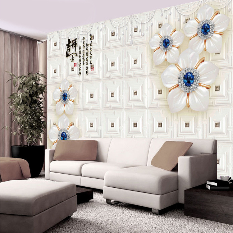 3D Rose Flower Good Luck Auspicious Jewelry TV Backdrop Living Room Sofa Wallpaper Seamless Wall Cloth Wallpaper Mural