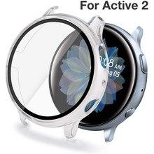 Protector de pantalla de vidrio templado, funda completa para Samsung Galaxy Watch Active 2, 40mm, 44mm, 40 44mm