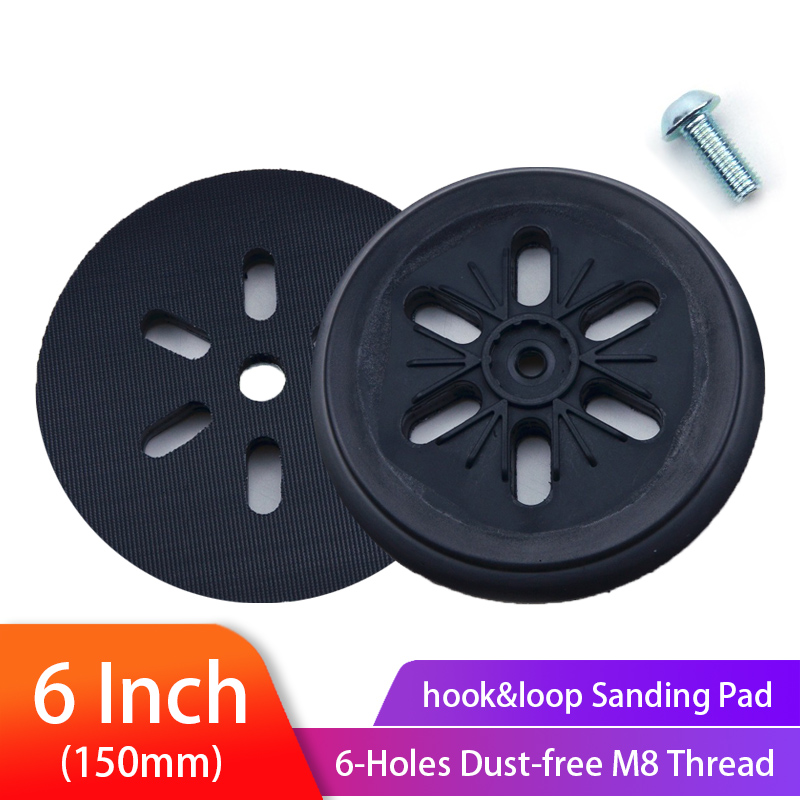 6 Inch(150mm) 6-Hole Dust-free M8 Thread Back-up Sanding Pad For 6