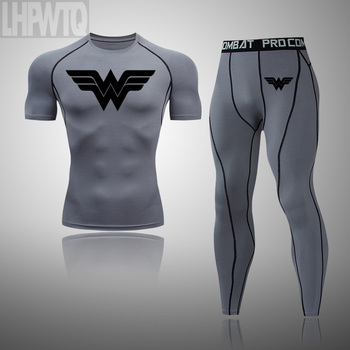 Wonder Woman Men's full Suit Compression Sport Suit Gym joggers Running Short sleeve Shirts leggings Basketball sportwear 12