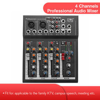 LEORY Professional 4 Channels DJ Mixer Sound Mixing Console With USB MP3 Jack Live Audio Mixer For Karaoke KTV Meeting Speech