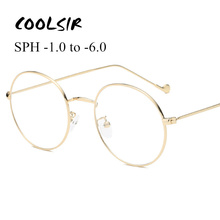 Myopia Glasses Frame Black Gold Women Round Silver Vintage Glasses-1.0-1.5-2.0-2.5-3.0