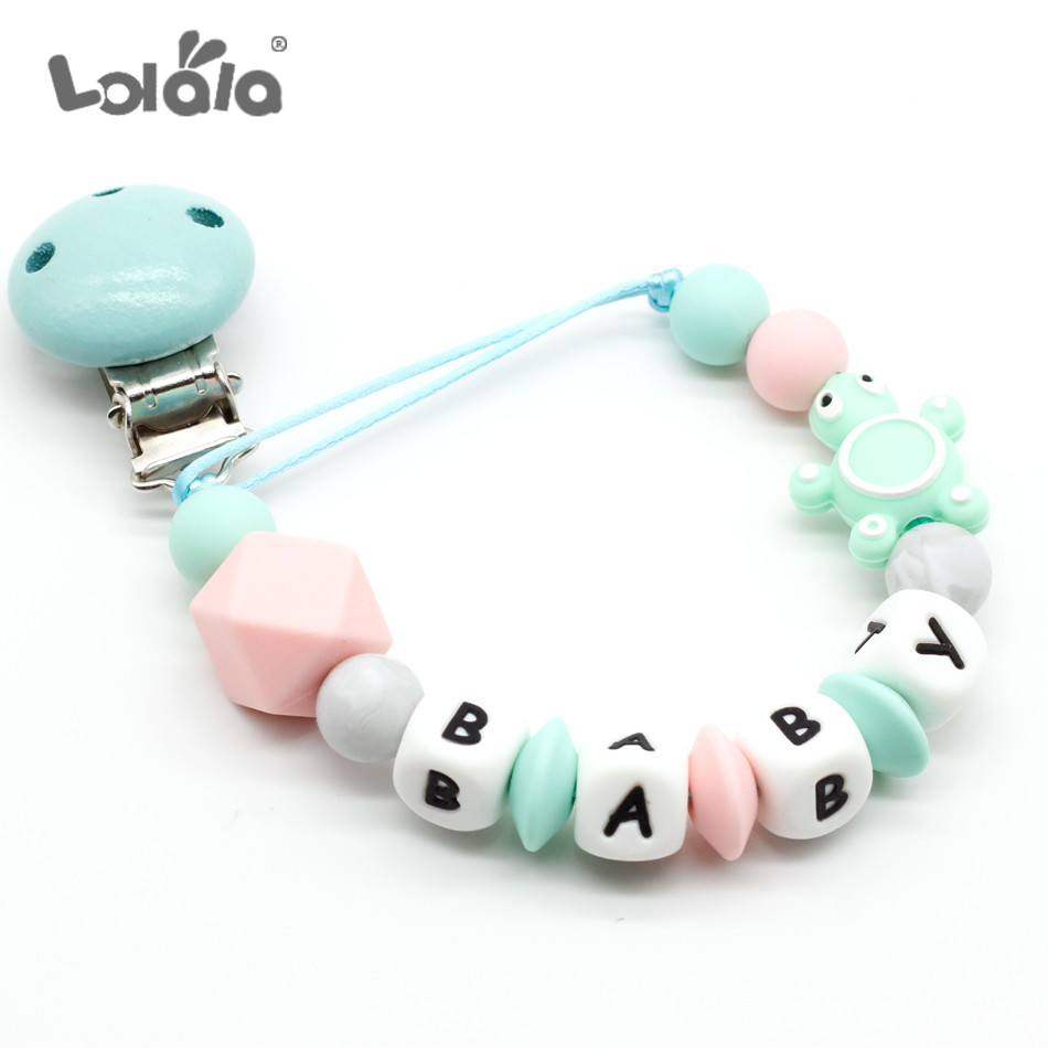 Custom Baby Personalized Name Silicone Letter Pacifier Chains Wooden Pacifier Clips Baby Shower Gifts Teething Toy Dummy Clips