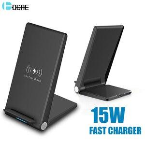 Image 1 - DCAE 15W Qi bezprzewodowa ładowarka stojak Pad dla iPhone 12 11 Pro X XS Max XR 8 10W szybka stacja dokująca do Samsung S20 S10 S9