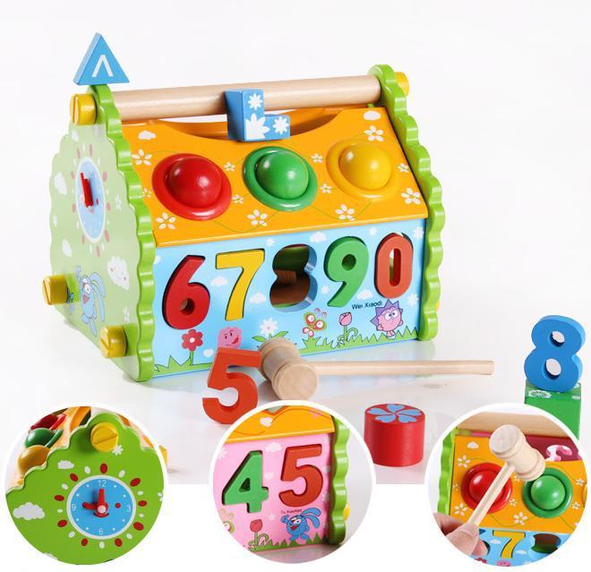 Le démontage multifonctionnel de Youdele frappent les domaines de sens aigu de boule sont les jouets en bois éducatifs des enfants de la maison des nombres JF40 0.9