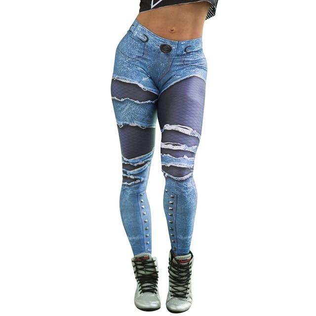 женские леггинсы для йоги с высокой талией имитация рваных джинсовых фотография
