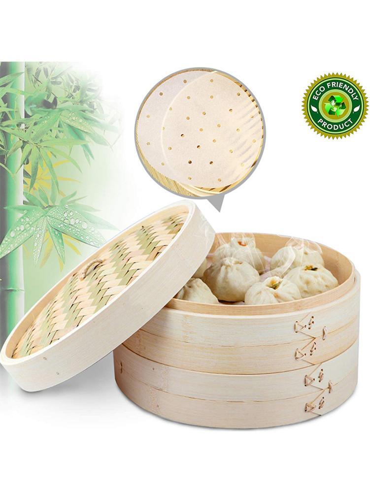 2 Tier Bamboo Steamer Handmade Durable Stackable Steamer For Vegetables Meat Fish Dumplings Dim Sum