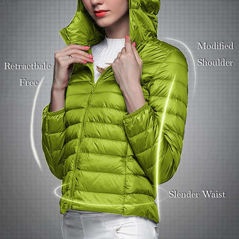レディース軽量ダウン Packable フード付き暖かいジャケット長袖スリムパーカー女性固体コート冬の女性のダウンジャケット