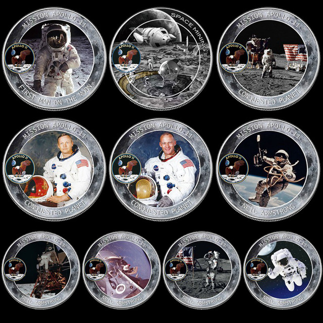 10 Cái/lốc Thủy Ngân Song Tử Apollo 50th Kỷ Niệm Đồng Tiền Kỷ Niệm Không Gian Mỹ Phi Hành Gia Trên Mặt Trăng Dấu Chân Đồng Tiền Sưu Tầm