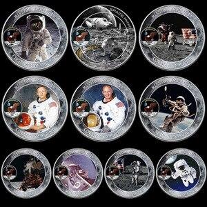 Image 1 - 10 ชิ้น/ล็อต MERCURY Gemini Apollo 50TH ANNIVERSARY เหรียญที่ระลึก US Space นักบินอวกาศดวงจันทร์ Footprint สะสมเหรียญ