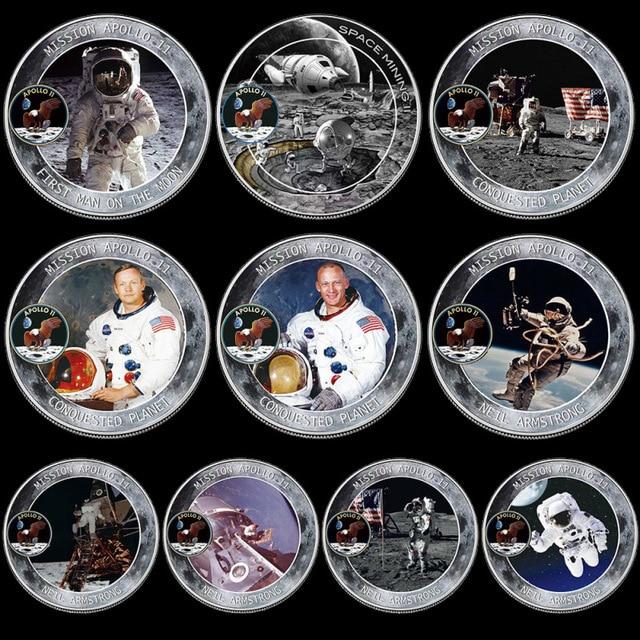 10 ชิ้น/ล็อต MERCURY Gemini Apollo 50TH ANNIVERSARY เหรียญที่ระลึก US Space นักบินอวกาศดวงจันทร์ Footprint สะสมเหรียญ