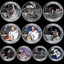 10 unids/lote Mercury Gemini Apollo moneda conmemorativa del 50 aniversario de los astronautas del espacio de EE. UU. En la Luna huella colección de monedas