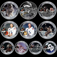 10pcs/lot Mercury Gemini Apollo 50th Anniversary Commemorative Coin US Space Astronauts On The Moon Footprint Coins Collectibles