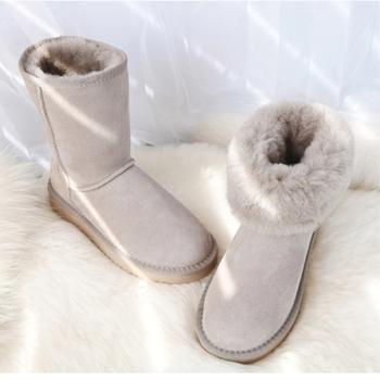 G amp Zaco luksusowe damskie buty owcze oryginalne buty z owczej skóry buty śnieżne skórzane buty z wełny futro klasyczne damskie zimowe buty zamszowe tanie i dobre opinie G ZaCo Luxury Połowy łydki Stałe Sheepskin Snow Boots Dla dorosłych Mieszkanie z Buty śniegu Okrągły nosek Zima Niska (1 cm-3 cm)