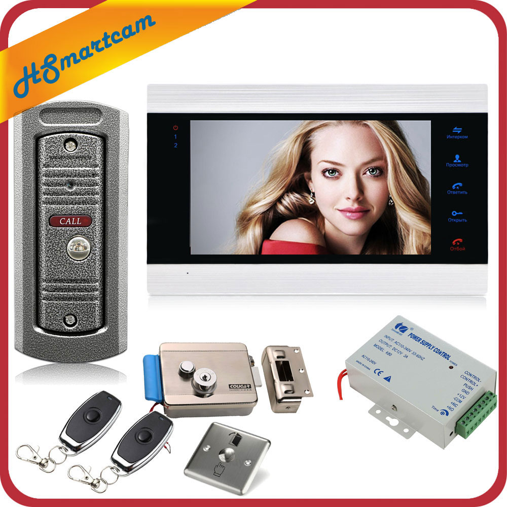 7 Inch Video Doorbell Monitor Intercom With 1200TVL Outdoor Doorbell Camera Door Phone Intercom System Remote Control Door Lock