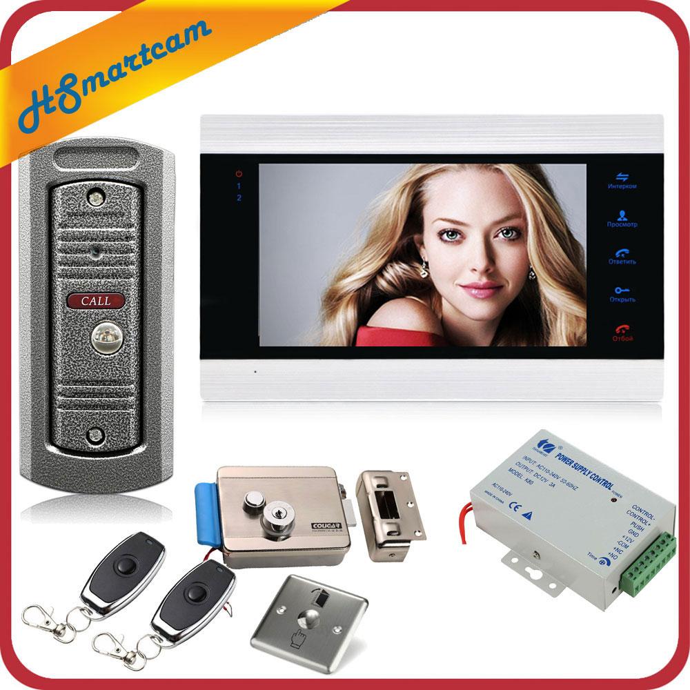 7 Inch Video Doorbell Monitor Intercom With 1200TVL Outdoor Doorbell Camera Door Phone Intercom System Remote Control Door Lock