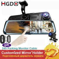"""HGDO 10 """"écran tactile vue arrière caméra miroir tableau de bord caméra FHD 1080P voiture DVR Vision nocturne tableau de bord caméra Auto conduite enregistreur Dashcam"""