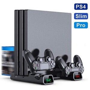 Image 1 - PS4 / PS4 سليم/PS4 برو منصة رأسية 2 جهاز شحن محطة 2 مروحة التبريد 10 ألعاب التخزين لسوني بلاي ستيشن 4 وحدة التحكم