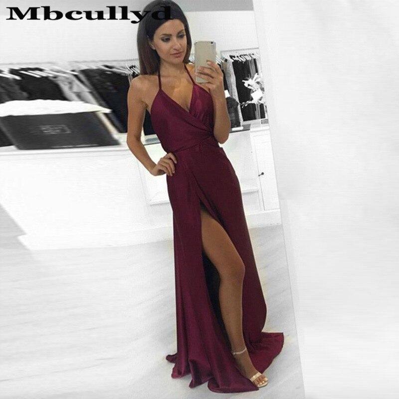 Mbcullyd Sexy Halter Neck   Prom     Dresses   Long With High Slit Africa Evening   Dress   For Women Backless vestidos de fiesta de noche