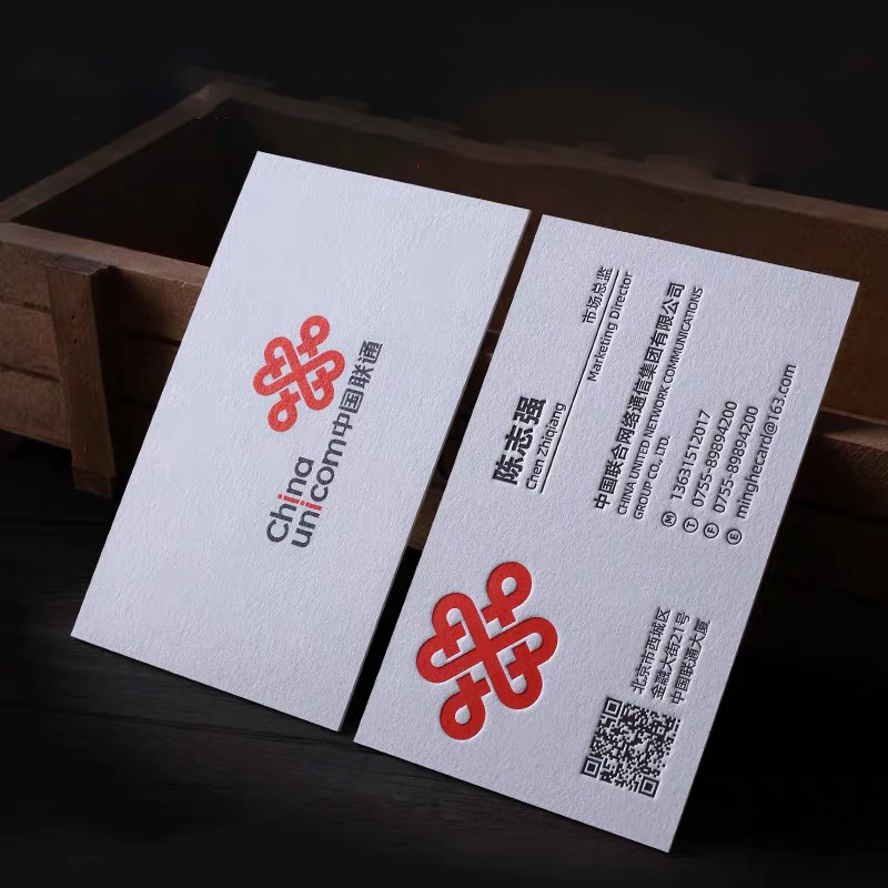 Personalized Custom Business Cards Printing Logo Thick Paper Free Typesetting Gold Foil Letterpress Stamping Index 530gsm 200pcs