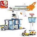 Stadt Luftfahrt Fracht Flugzeug Flughafen Airbus Flugzeug Steuerung Turm DIY Bausteine Spielzeug Set Puppe Für Kinder Bildung Geschenke