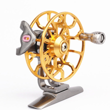 L50 Ice Fishing Wheel Round All Metal Fly Reel Large Arbor Aluminum Hand-Changed