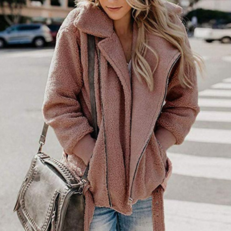 Women Faux Fur Coats Winter Solid Fashion Open Point Outwear Female Long Sleeve 2019 Fashion Warm Thick Fluffy Jacket Coat